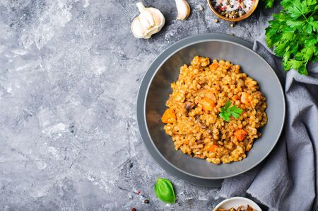 Spelt Pumpkin Mushroom Risotto on Grey