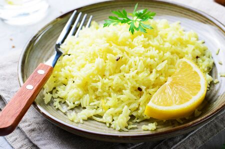 Yellow Rice, Turmeric Rice wih Lemon, Ginger and Fenugreek, Indian Food