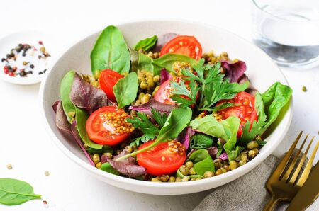 Mung Bean Cherry Tomato Salad in a Bowl, Tasty Vegetarian Food Stock fotó