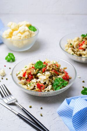 Cauliflower Mung Bean and Bell Pepper Salad, Vegan Food, Tasty Appetizer