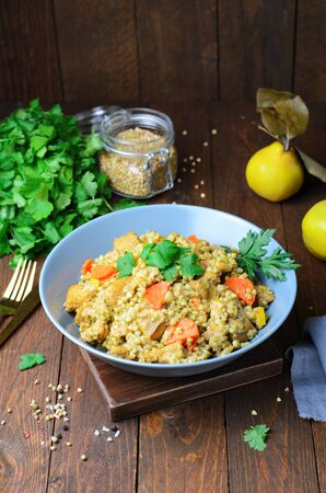 Green Buckwheat Pilaf, Tasty Vegan Meal