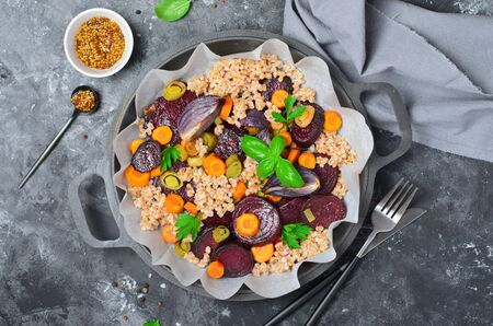 Spelt with Roasted Vegetables on a Pan