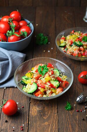 Tabbouleh Salad, Tasty Appetizer with Bulgur and Vegetables