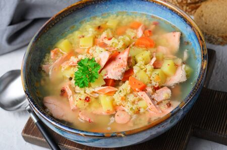 Fish Soup with Salmon, Millet and Vegetables, Tasty Meal