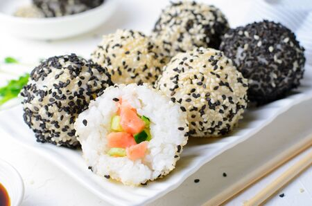 Onigiri Rice Balls with Salmon and Cucumber, Asian Food Appetizer Reklamní fotografie