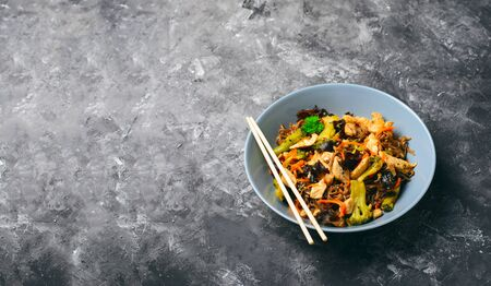 Soba Noodles with Chicken and Vegetables, Tasty Meal against Dark Reklamní fotografie