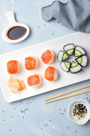 Different Types of Sushi on a Plate, Temari Sushi and Cucumber Roll, Japanese Food