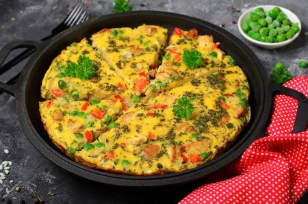 Frittata with Chicken and Vegetables, Tasty Homemade Baked Omelette