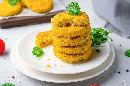Vegan Millet Burgers, Tasty Healthy Meal over Bright Reklamní fotografie
