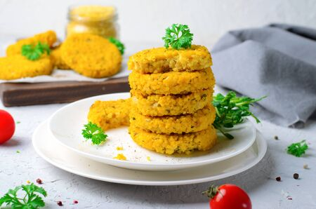 Vegan Millet Burgers, Tasty Healthy Meal on white