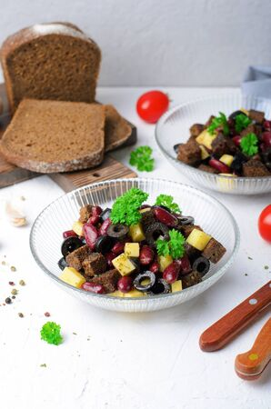 Red Bean, Rye Bread, Cheese and Black Olive Salad, Tasty Appetizer