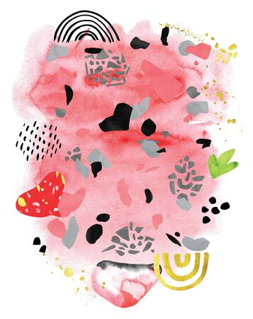 Watercolor collage composition in coral blue pink black gold shapes and doodles 版權商用圖片
