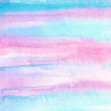 Abstract blue, violet and pink watercolor hand painted background. Unique textured splashes effects. Horizontal stripes. Trendy soft pastel colors. Perfect for collages, polygraphy