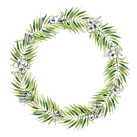 Watercolor vintage floral trendy laurels wreath. Green leaves and bunches with graphic black and white jasmine flowers isolated on white. Round border composition concept. Elegant template. For stationery, wedding, card, poster, invitation