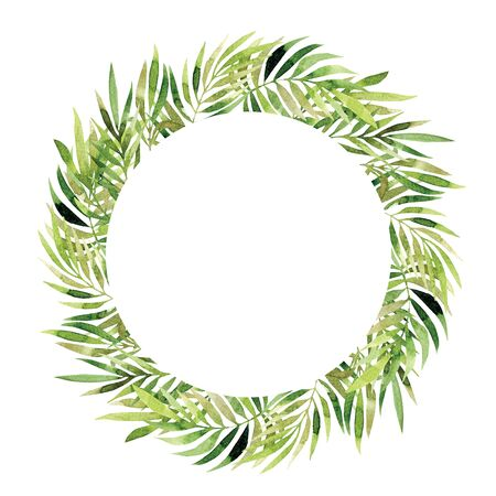 Watercolor wreath. Vintage floral trendy green leaves and bunches isolated on white background. Hand painted circle border composition concept. Elegant template. For stationery, wedding, card, poster, invitation, print, design Stok Fotoğraf - 131855161