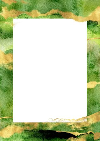 Watercolor hand drawn vertical border template. Green layout with gold splashes and strokes with white space for text. Perfect for wedding stationery, greeting, quote, social media, poster