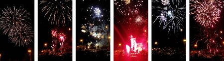 Colorful fireworks of various colors over night sky. Six mobile photo set. Night celebration with colorful pyrotechnics show. New year, fourth july, birthday celebration. People silhouette on dark