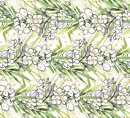 Seamless pattern with watercolor green leaves, white sketch flowers and golden glitter splashes on white background. Hand painted floral summer clipart. Creative concept wedding background card etc Reklamní fotografie