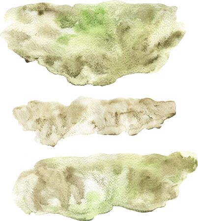 Abstract watercolor hand painted beige and green lose form spot set isolated on white. Clouds and smears effect with texture spots effect. Hand painted beautiful stains for collage, stationery, poster Stock fotó - 133696567