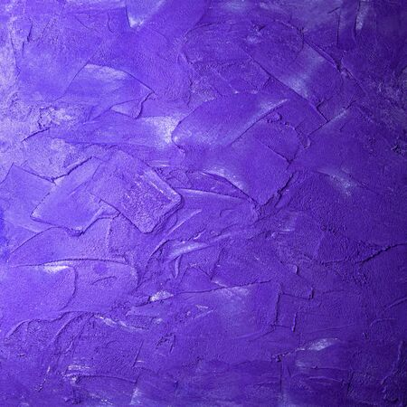 Violet textured square concrete wall smears. Trendy blue stone textured wall abstract background coating strokes painting pattern uneven surface plaster. Space for text Hand made art scratches, scuffs
