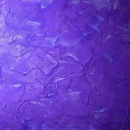 Violet textured square concrete wall smears. Stock Photo
