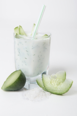 kefir: healthy kefir with cucumber Stock Photo