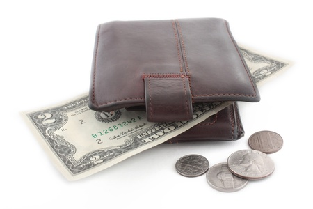 purse with money in over white background Stock Photo - 16568908