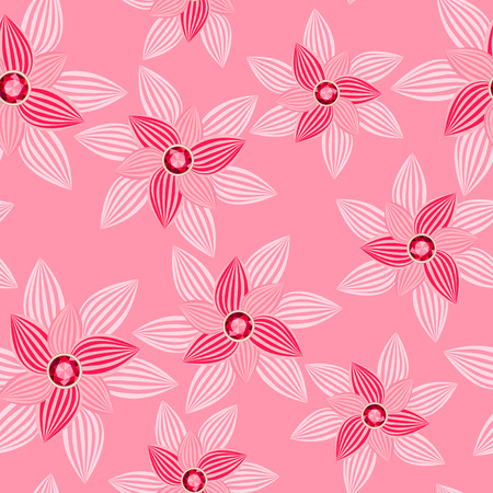 saturate: pink flower with gemstone seamless pattern