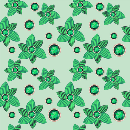 saturate: green flower with emerald seamless pattern