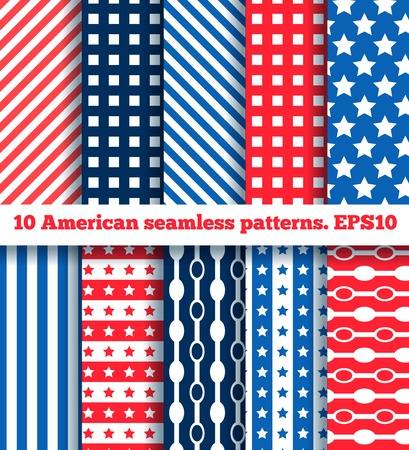 set of ten seamless pattern in national american colors. EPS 10. No gradients. Stock Vector - 27394931