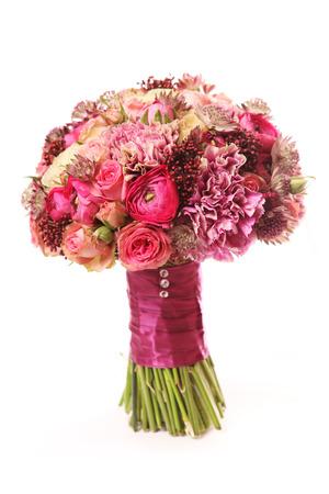rose bush: wedding bouquet with Astrantia, Skimma, Brassica, rose bush, Ranunculus asiaticus, cloves,  Stock Photo