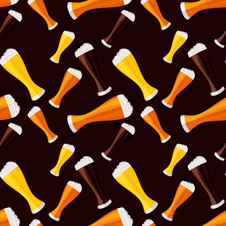 light, dark and red beers seamless pattern photo