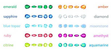 pear shaped: big set of variety gemstone  EPS10, no gradient, no transparency