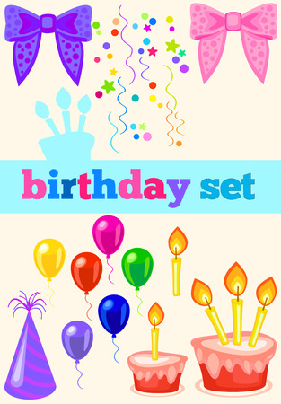 birthday set with ribbons  birthday cap, cake, balloons and confetti  No gradients, no transparency photo
