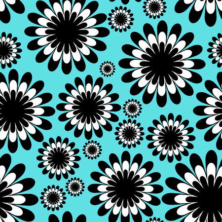 abstract monochrome floral seamless pattern in over tiffany blue background