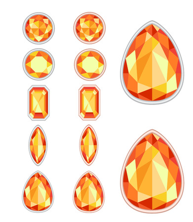 saturate: set of five forms of amber cut and two kinds of frames (silver and gold)