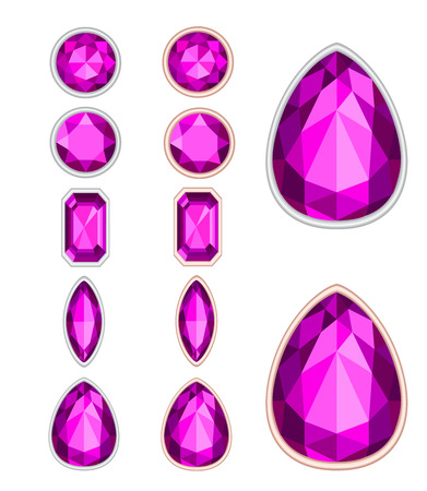 amethyst: five forms of amethyst cut and two kinds of frames (silver and gold) Stock Photo