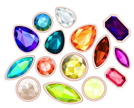 saturate: big pile of gems isolated on white background Stock Photo
