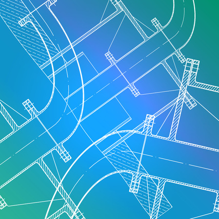 constructional: drawing made with white lines on blue-turquoise background Illustration