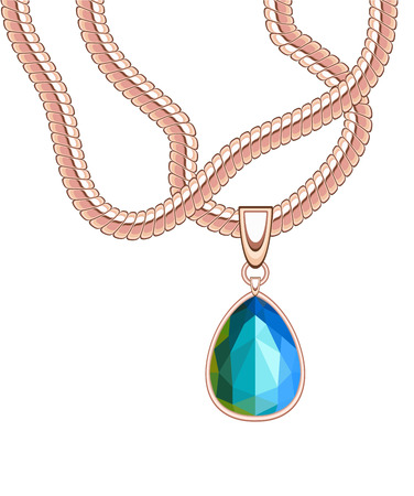saturate: golden necklace with blue sapphire