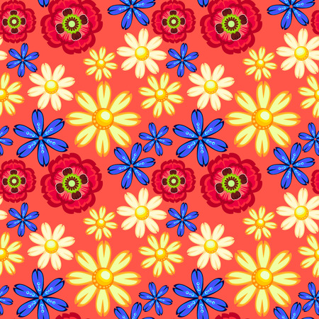 cornflower, camomile and poppy seamless pattern Vector