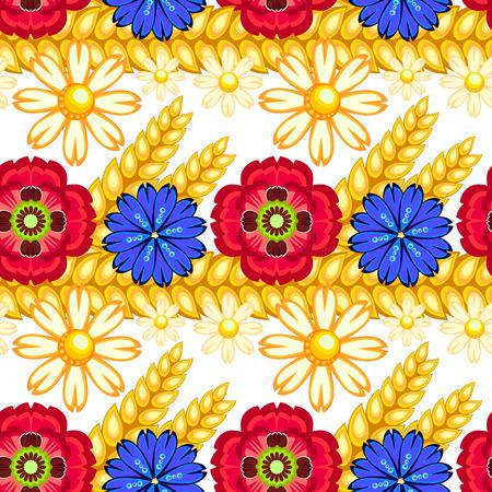 camomiles macro: cornflower, camomile and poppy seamless pattern
