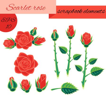 scarlet: scarlet rose scrapbook elements