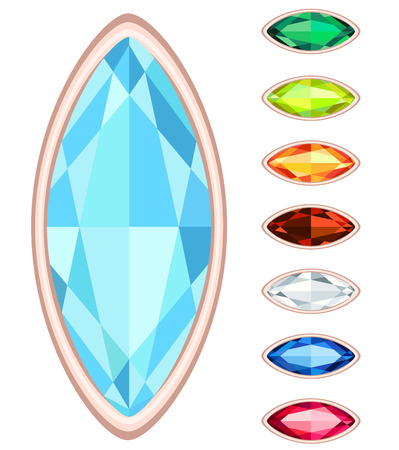 sapphire: amber, citrine, ruby, diamond, sapphire, emerald oval gemstone set Illustration