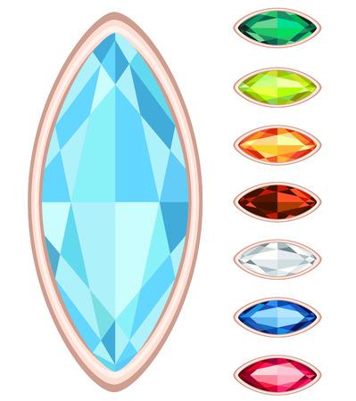amber, citrine, ruby, diamond, sapphire, emerald oval gemstone set Illustration