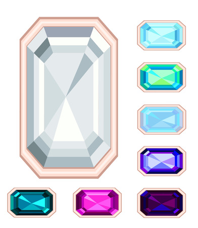 rectangle gemstone set.  Vector