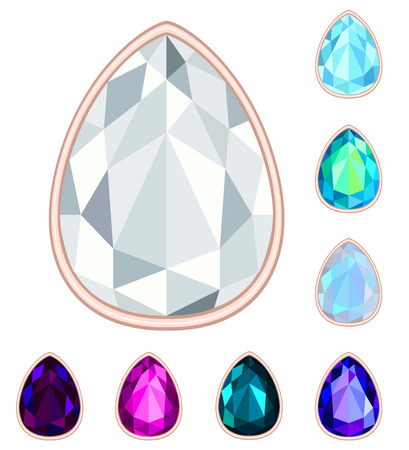 teardrop gemstone set. Vector