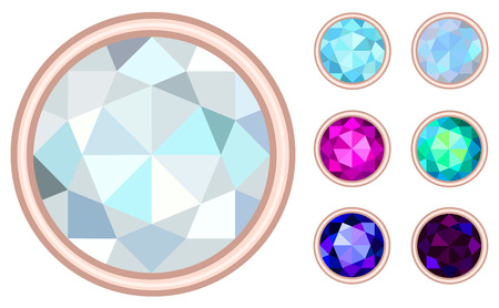 saturate: circle gemstone set Illustration
