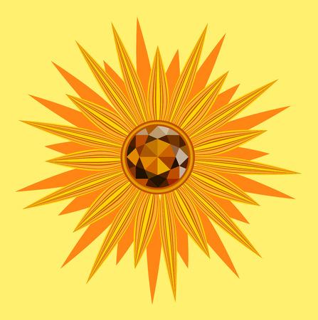 sunflower with gemstone