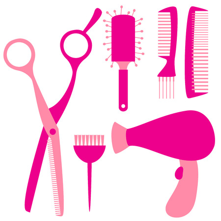 flat hairdressing tools Vector